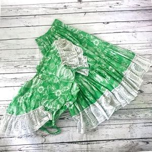 Vintage 1960's green floral wrap top & skirt set